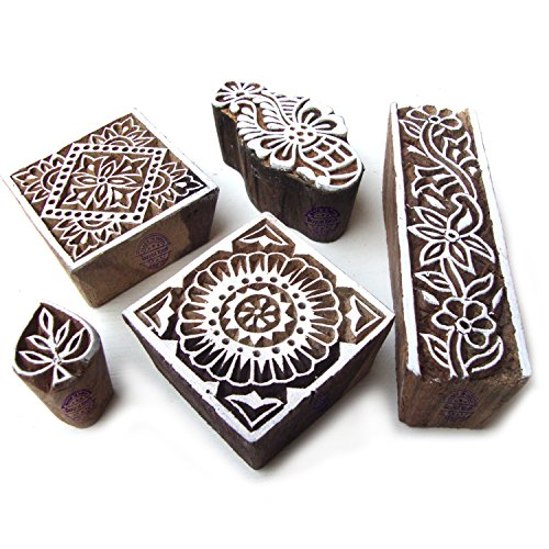 Hand Made Square and Floral Motif Wooden Stamps for Printing (Set of 5) by Royal Kraft