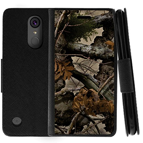 (TurtleArmor | Compatible for LG K20 V Case | K20 Plus Case | K10 2017 Case | Protective Flip Leather Wallet Case Stand Cover with Card Slots - Tree Leaves Camouflage)