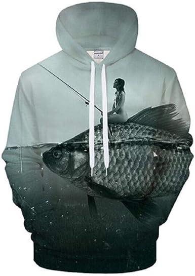 LXRYUN Unisex 3D Printed Hoodies Pullover Hooded Sweatshirts Baseball Uniform Sports Hoodie Coat Phone Fish
