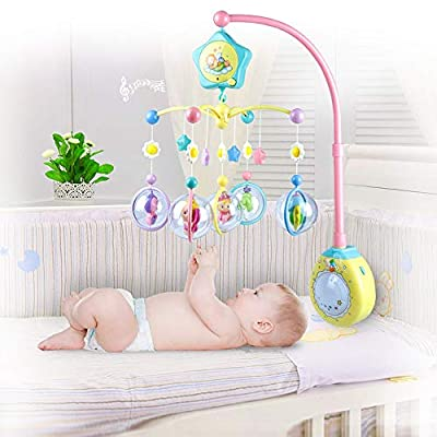 MAJINCGJ Newborn Baby Toy Bed Bell Music Rotating Bedside Bell Toy Baby Comfort Sleep Night Light Rattle Baby Carriage Pendant Newborn Toy Bubble Elf Multifunctional Baby Bed Bell : Baby