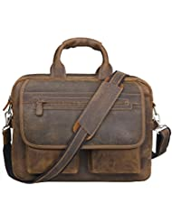 Jack&Chris Mens Handmade Leather Briefcase Laptop Bag Messenger Shoulder Bag,NM1862