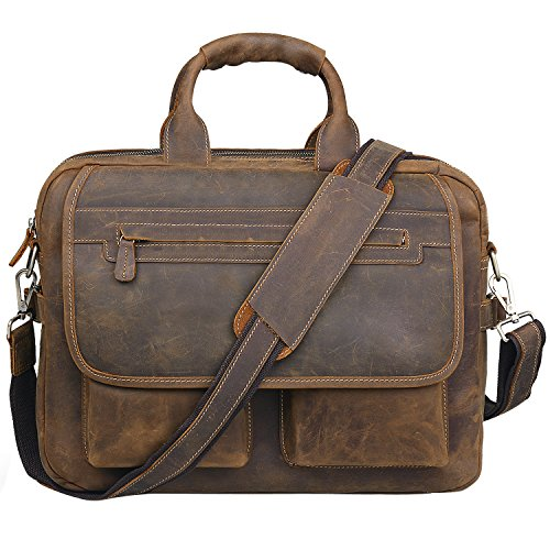 Jack&Chris Men's Handmade Leather Briefcase Laptop, used for sale  Delivered anywhere in USA