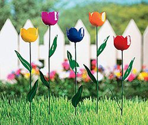 TULIP lawn garden plant stake YARD ORNAMENTS flower - Tulip Ornament