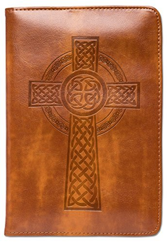 Celtic Cross Journal, Writing Journal, Personal Diary, Lined Journal, Travel Journal, 6x8.75 Notebook, Writers Notebook, Sewn Binding, Faux Leather, Refillable, Gift for Him or Her, Fountain Pen Safe