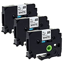 Itari 3 Pack Black on White 12mm Label Tape Compatible for Brother TZ-231 TZe-231