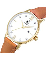 AIBI Womens AB51001-6 Gold Tone Stone Set Leather Elegant Dress Watch,34mm