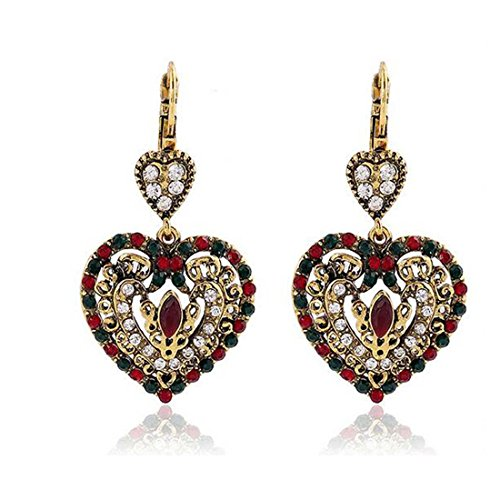 Luck Wang Lady's Unique Retro Bohemian Diamond Heart-Shaped Pendant Earrings(Red) (Places To Buy Balloons Near Me)
