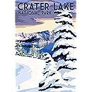 Crater Lake National Park, Oregon - Winter Scene (9x12 Art Print, Wall Decor Travel Poster)