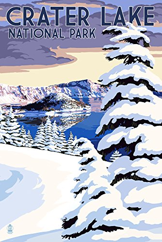 (Crater Lake National Park, Oregon - Winter Scene (12x18 Art Print, Wall Decor Travel Poster) )