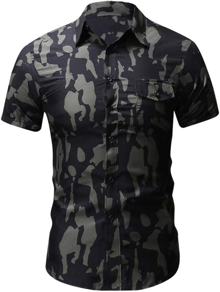 ACEBABY Camisa Hawaiana Hombre Moda Camisa Casual de Manga Corta con Solapa Estampada Tallas Grandes Suelta Top Adecuado para Fiestas en la Playa: Amazon.es: Ropa y accesorios