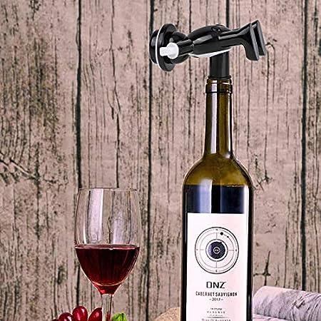 3 Piezas Abrebotellas Tapón de Botella de Vino, Sacacorchos de Botella de Vino Hombre Feliz, Abridor de Botellas de Vino, Abrebotellas de Cerveza, Sellador de Vino, Regalo Divertido Negro