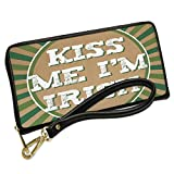 Wallet Clutch Kiss Me I'm Irish St. Patrick's Day Retro Design with Removable Wristlet Strap Neonblond