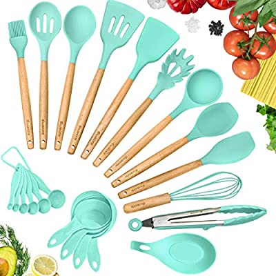 Kuchepro 12 Piece Silicone Kitchen Utensil Set Premium Natural Beech Wooden Handles With Non Stick Silicone Heat Resistant Cookware For Cooking And Baking Tools Green Amazon Sg Home