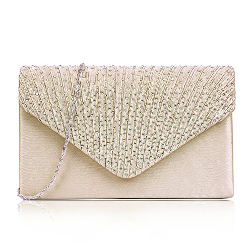 (HDE Womens Clutch Purse Satin Evening Envelope Handbag Crossbody Bags for)
