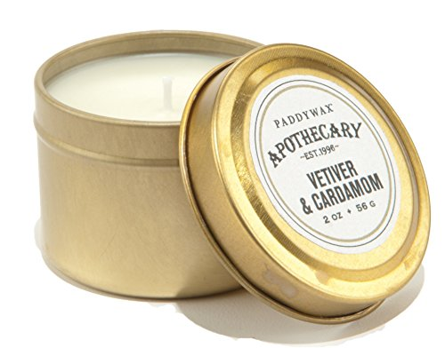 Paddywax Apothecary Collection Scented Travel Tin Candle, 4-Piece, 2-Ounce, Vetiver & - Tins Travel Paddywax