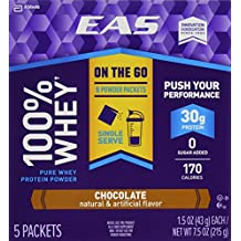 EAS 100% Whey On-the-Go Protein Powder Packets, Chocolate, 1.5 Ounce, 5 Count