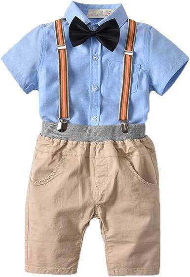 Conjunto de para Bebé Niño Camisa de Manga Corta + Corbata de Lazo+ Pantalones con Tirantes Traje de Bautizo Fiesta Boda Ceremonia: Amazon.es: Ropa y accesorios