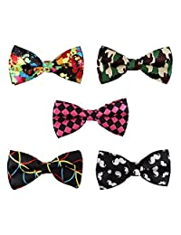 BMC 5 pc Mens Formal Mixed Pattern Pre-Tied Adjustable Neck Tie Bowties - Set 4