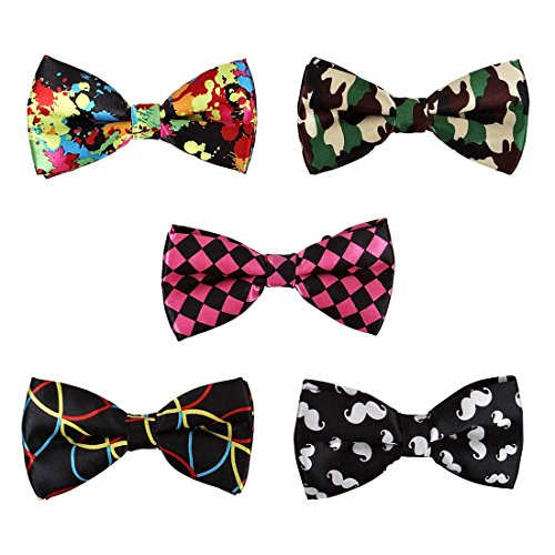 BMC 5 pc Mens Mixed Color Assorted Pattern Formal Pre-Tied Adjustable Neck Tie Bowties - Set 4: Wacky Wednesday
