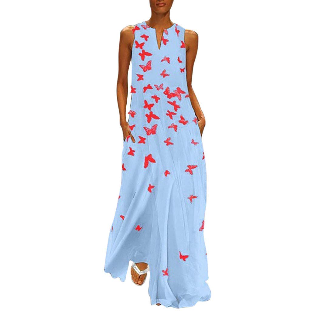 Sleeveless Floral Print Maxi Dress for Womens Casual Vintage Loose Beach Long Dresses S-XXXL Blue by sweetnice Women Dresses