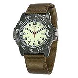 WOLFTEETH Water Resistance Analog Quartz Beige Dial Green Band Luminous Military Unisex Style Boys Wrist Watch #3018
