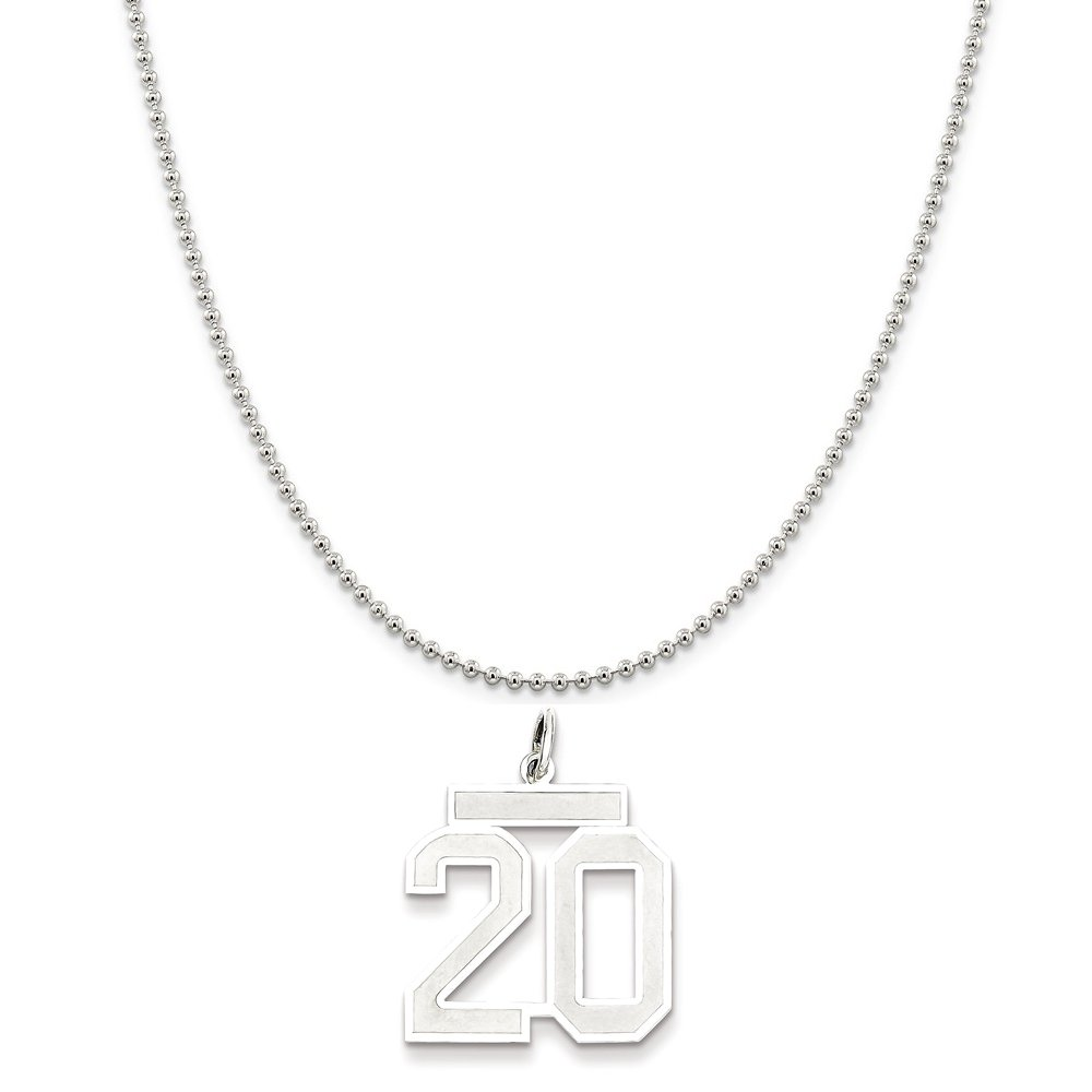 Snake or Ball Chain Necklace Sterling Silver Medium Satin Number 20 on a Sterling Silver Cable