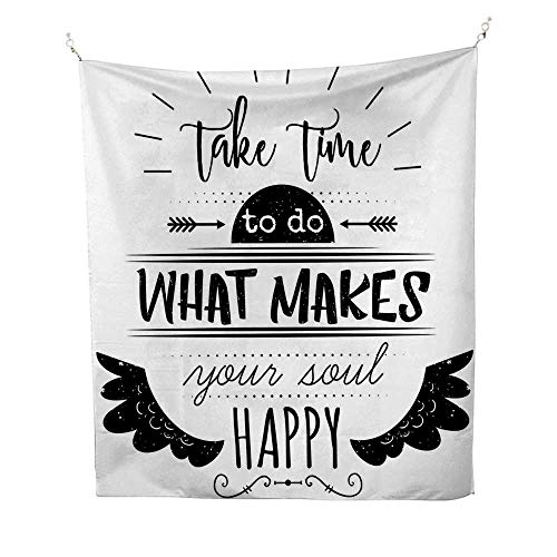 Tribalocean tapestryMonochrome Do What Makes Your Soul Happy Quote with Ethnic Wing Arrow Motifs 54W x 72L inch Large tapestryBlack and White