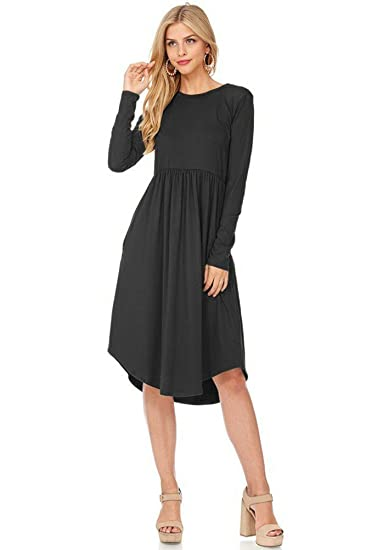 12 Ami Fit And Flare Long Sleeve Pocket Midi Dress Made In Usa At