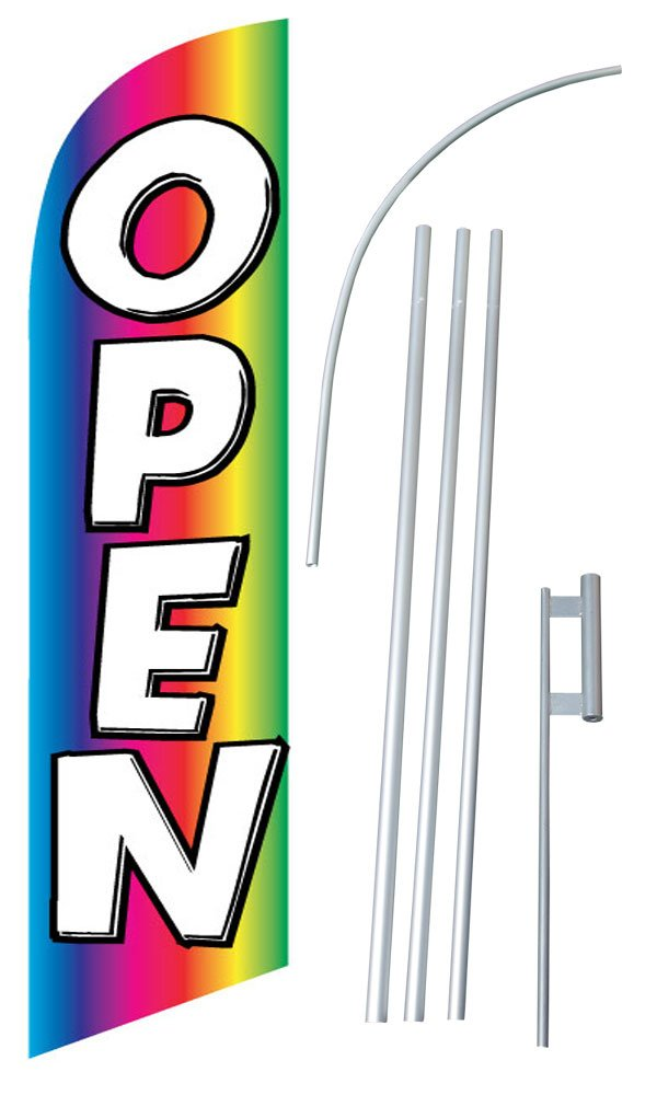 """Open Rainbow"" 12-foot SUPER Swooper Feather Flag With Heavy-Duty 15-foot Pole and Ground Spike"