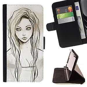 Momo Phone Case / Flip Funda de Cuero Case Cover - Chica Retrato Dibujo Verde Ojos Lápiz - Sony Xperia M5