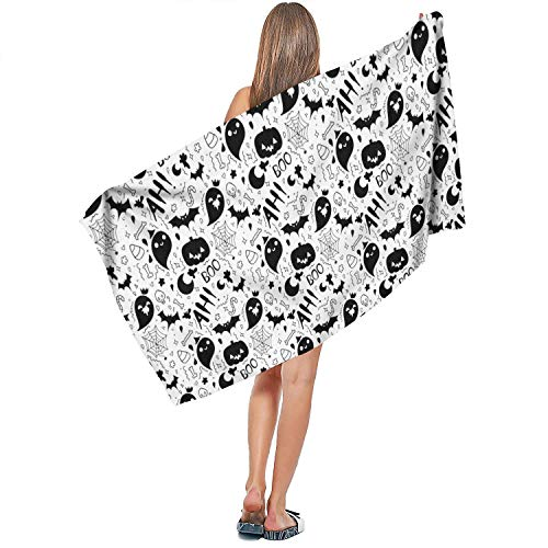DoorSignHHH Indoor/Outdoor Soft Extra Large Bath Towel Halloween Ghost Pumpkin Quick Dry Absorbent Art Bathroom 27.5