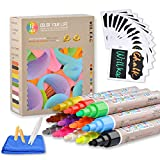 Liquid Chalk Markers, 12 Pack Erasable Neon Chalkboard Pens Erasable Pens for Bistro Boards,Blackboard, Glass,Cleaning Cloth, 24 Chalkboard Labels, Reversible Bullet and Chisel Tip by Wiilkac