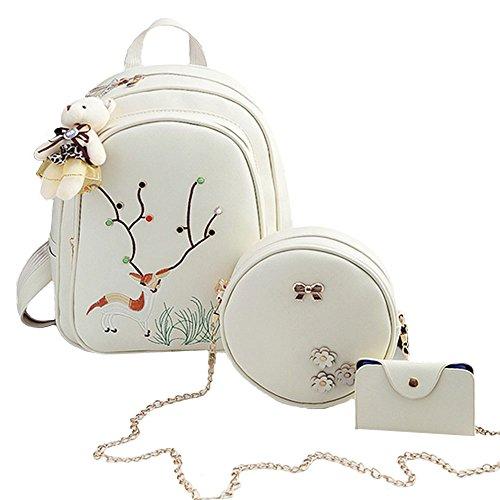 Women Backpack, Creamy-white Deer Pattern Teens School Backpack, include Girl School Bag, Shoulder Bag and Card Book Holder by ZJROYAL