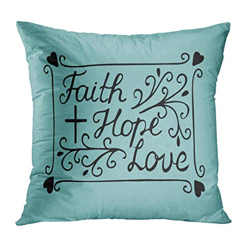 TOMKEYS Throw Pillow Cover Hand Lettering Faith Hope and Love with Cross and Hearts Bible Verse Christian New Testament Modern Decorative Pillow Case Home Decor Square 18x18 Inches Pillowcase