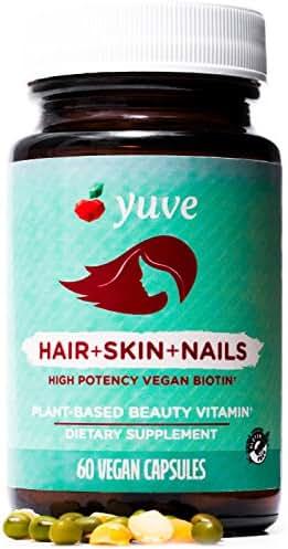 Yuve Natural Biotin 5000 mcg Vitamin - Longer, Stronger, Healthier Hair - Glowing Skin and Strong Nails Growth - Vegan, Non-GMO, Gluten-Free - High Potency Vitamin B7 Supplement - 60 Veggie Caps