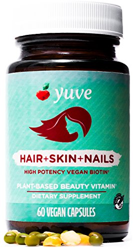 Yuve Natural Biotin 5000 mcg Vitamin - for Longer, Stronger, Healthier Hair Growth - Glowing Skin and Strong Nails - Vegan, Non-GMO, Gluten-Free - High Potency Vitamin B7 Supplement - 60 Veggie Caps