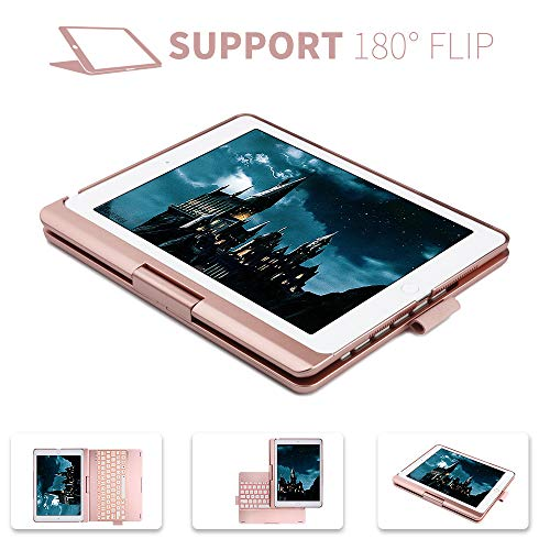 iPad Keyboard Case for iPad 6th gen - iPad 5th gen- iPad Pro 9.7- iPad Air 2- Air, 360 Degree Rotatable -Auto Sleep Wake- Wireless Bluetooth Backlit Keyboard Case with Pencil Holder (Rose Gold) by KVAGO (Image #2)