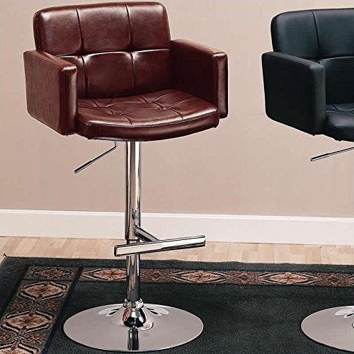 Coaster Home Furnishings Contemporary Adjustable Bar Stool, Chrome/Brown price