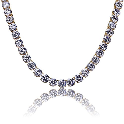 Jin'ao JINAO 18k Gold Plated 1 Row 10MM Lab Simulated Diamond Iced Out Chain Men's HipHop Tennis Necklace 20''24''30'' (Yellow Necklace, 24)