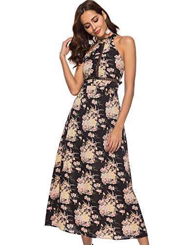 Hotiary Women Halter Top Maxi Dresses Long Floral Sleeveless Chiffon Split Tropical Beach Summer Party