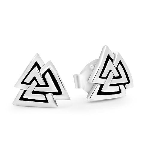 f8666b7c5 Amazon.com: 925 Sterling Silver Valknut Viking Knot Norse Runes Odin Stud  Earrings: Jewelry