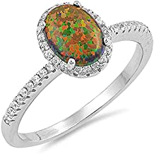 Sterling Silver Oval Lab Created Black Opal Halo Cubic Zirconia Ring Sizes 4-10