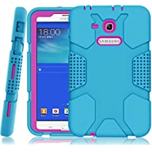 "Samsung Galaxy Tab E ""Lite"" 7.0 Case, Galaxy Tab 3 ""Lite"" 7.0 Case, Hocase Rugged Heavy Duty Kids Proof Protective Case for SM-T110 / SM-T111 / SM-T113 / SM-T116 - Sky Blue / Deep Pink"