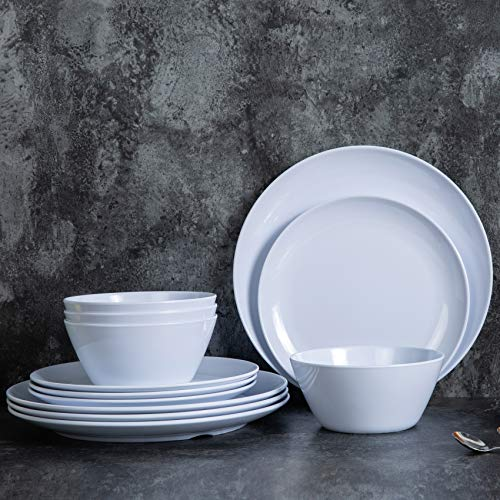 Dishes Dinnerware Set – 12pcs Melamine Plates and Bowls Set for 4, Indoor and Outdoor Use, Dishwasher Safe, White