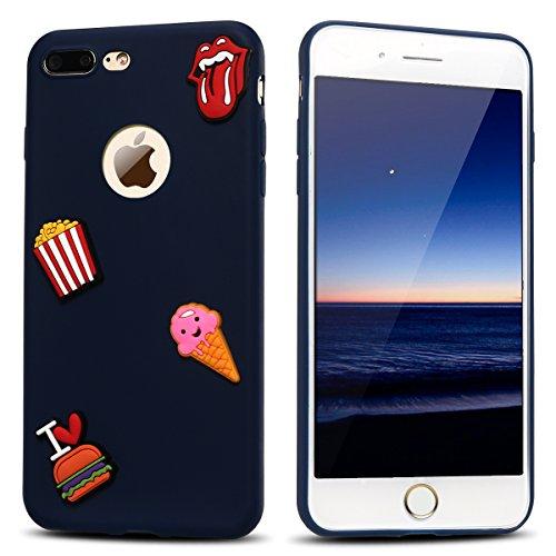 Funda iPhone 7 Plus, Carcasa iPhone 8 Plus, Suave Gel Silicona 3D Goma Mate Opaco Cover para Apple iPhone 7 Plus / 8 Plus (5.5 Pulgadas) E-lush Ultra delgado Blanda TPU Tapa Caja Flexible Ligero Prote Patatas Fritas Azul Marino