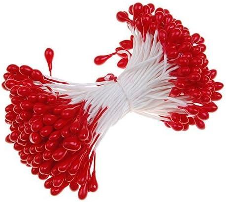SODIAL Fleurs Etamines avec Deux Perles Tetes 170 pcs R Rouge