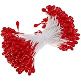 SODIAL(R) 170 pcs. Fleurs Etamines avec Deux Perles Tetes (Rouge)