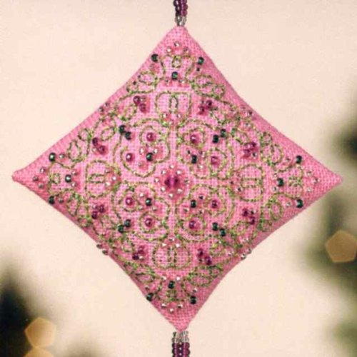 Pink Champagne Diamond Ornament with Tassel Beaded Counted Cross Stitch Kit Mill Hill MH223303