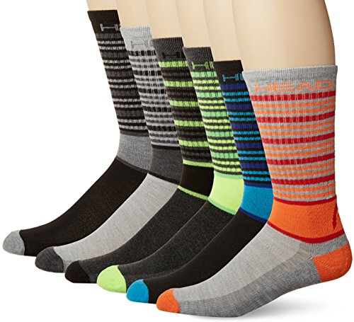 (Head 6-Pairs Of Mens Athletic Socks, Grey-Stripe, One Size (shoe sizes 6-12.5))