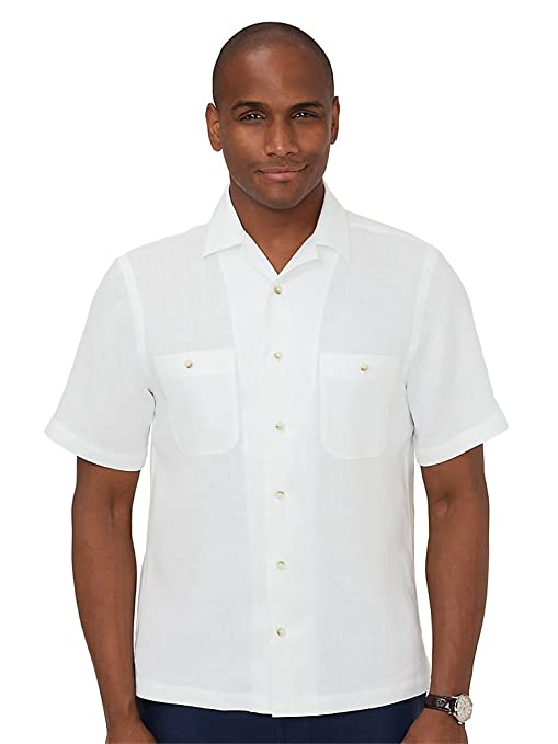 Men's Vintage Style Shirts Paul Fredrick Mens Linen Camp Collar Casual Shirt $74.50 AT vintagedancer.com